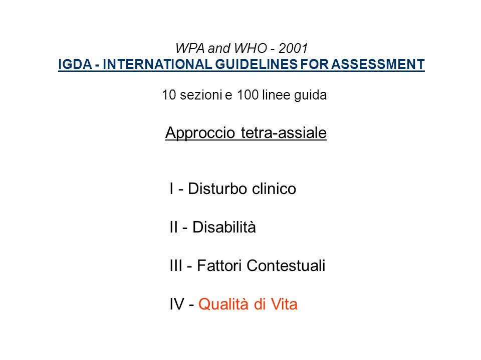 WPA and WHO - 2001 IGDA - INTERNATIONAL GUIDELINES FOR ASSESSMENT 10 sezioni e 100 linee guida Approccio tetra-assiale I - Disturbo clinico II - Disab