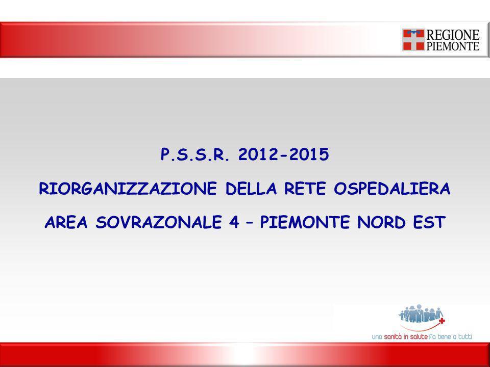 P.S.S.R. 2012-2015 RIORGANIZZAZIONE DELLA RETE OSPEDALIERA AREA SOVRAZONALE 4 – PIEMONTE NORD EST