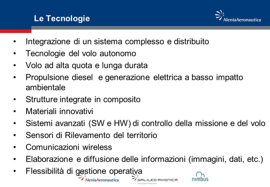 Le Tecnologie Integrazione di un sistema complesso e distribuito Tecnologie del volo autonomo Volo ad alta quota e lunga durata Propulsione diesel e g