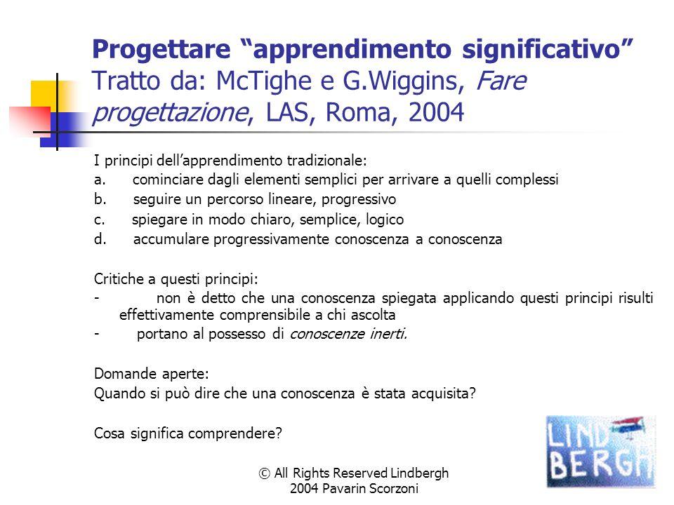 © All Rights Reserved Lindbergh 2004 Pavarin Scorzoni Progettare apprendimento significativo Tratto da: McTighe e G.Wiggins, Fare progettazione, LAS,