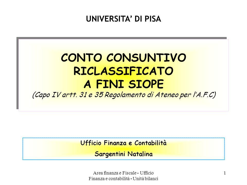 Area finanza e Fiscale - Ufficio Finanza e contabilità - Unità bilanci 1 CONTO CONSUNTIVO RICLASSIFICATO A FINI SIOPE (Capo IV artt. 31 e 35 Regolamen