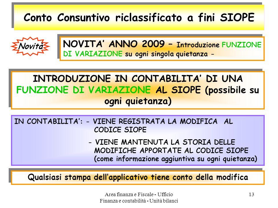 Area finanza e Fiscale - Ufficio Finanza e contabilità - Unità bilanci 13 Conto Consuntivo riclassificato a fini SIOPE NOVITA ANNO 2009 – Introduzione