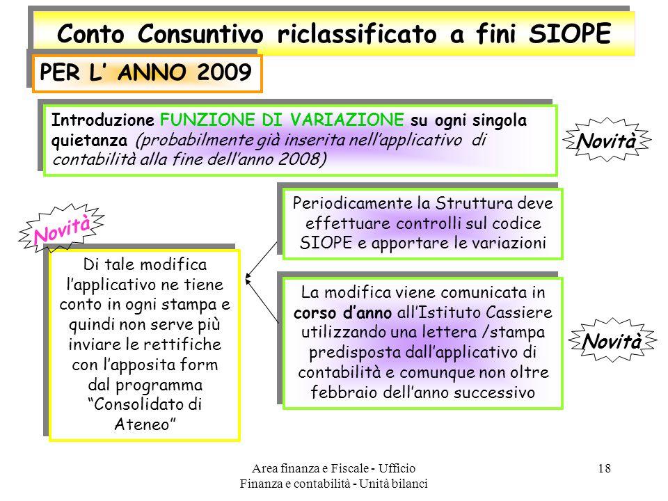 Area finanza e Fiscale - Ufficio Finanza e contabilità - Unità bilanci 18 Conto Consuntivo riclassificato a fini SIOPE PER L ANNO 2009 Introduzione FU