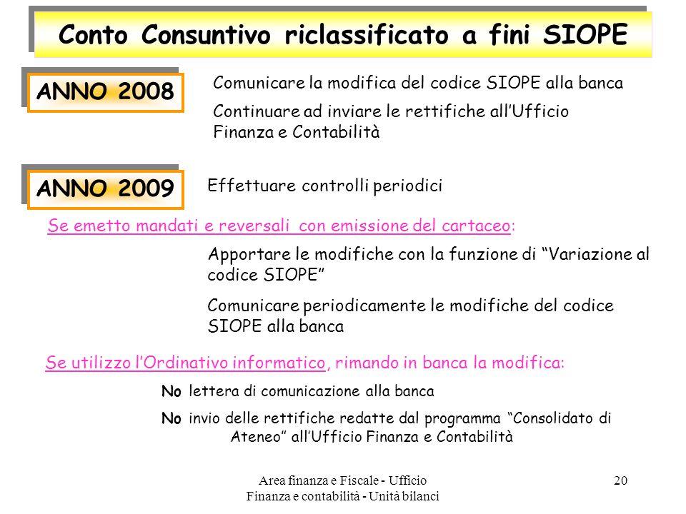 Area finanza e Fiscale - Ufficio Finanza e contabilità - Unità bilanci 20 Conto Consuntivo riclassificato a fini SIOPE ANNO 2008 Comunicare la modific