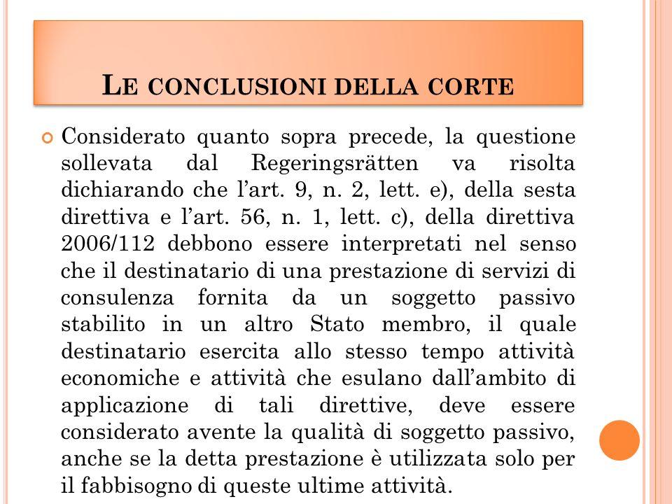 L E CONCLUSIONI DELLA CORTE Considerato quanto sopra precede, la questione sollevata dal Regeringsrätten va risolta dichiarando che lart.