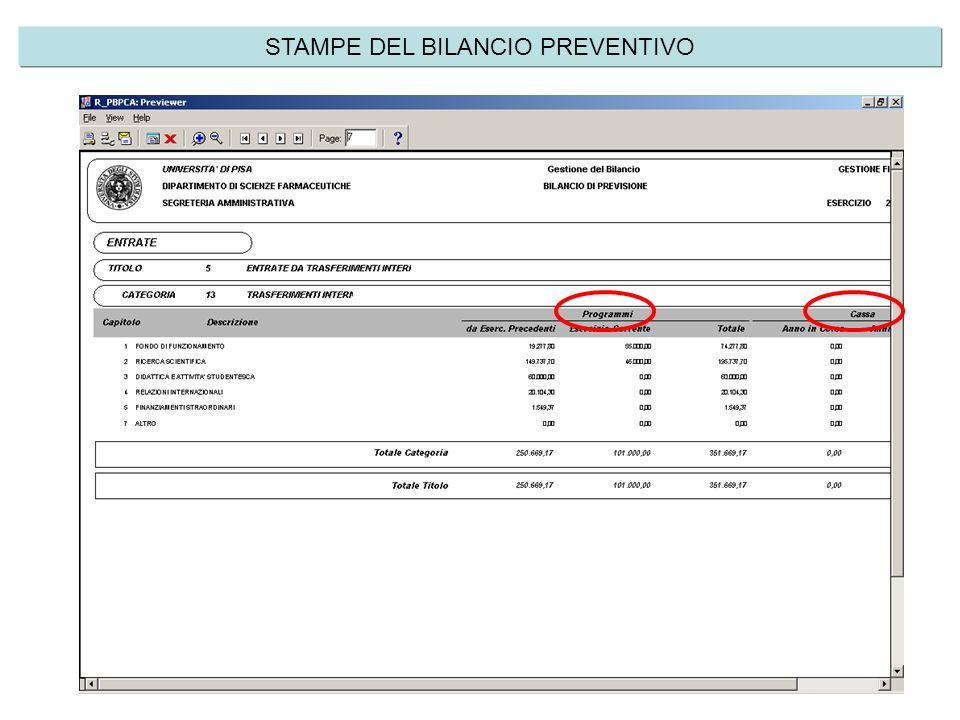 STAMPE DEL BILANCIO PREVENTIVO