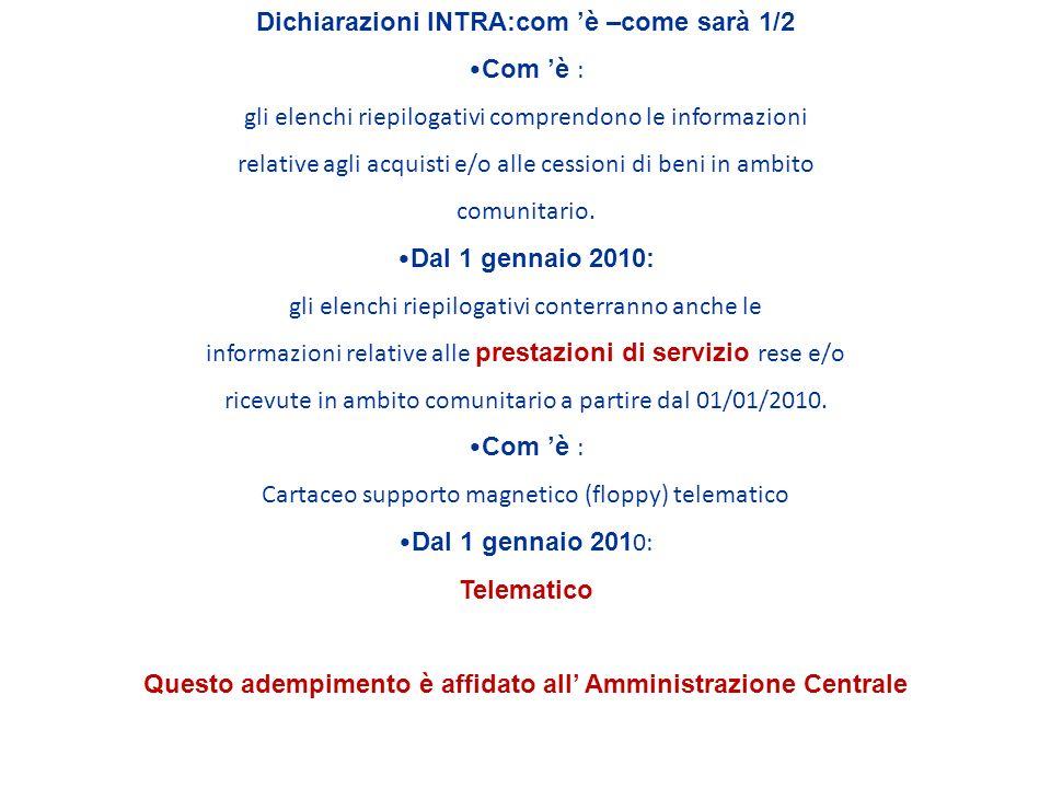 Dichiarazioni INTRA:com è –come sarà 1/2 Com è : gli elenchi riepilogativi comprendono le informazioni relative agli acquisti e/o alle cessioni di beni in ambito comunitario.