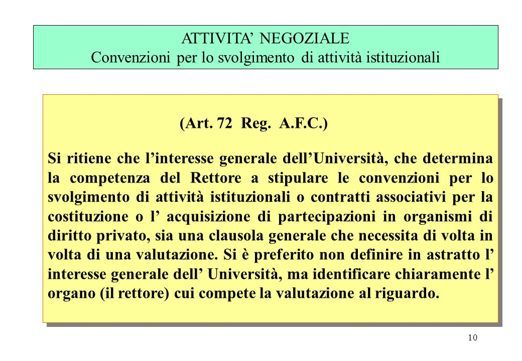 10 (Art. 72 Reg. A.F.C.) Si ritiene che linteresse generale dellUniversità, che determina la competenza del Rettore a stipulare le convenzioni per lo