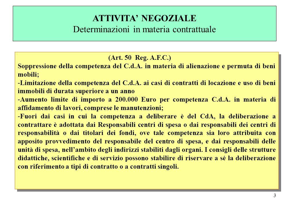 3 (Art. 50 Reg. A.F.C.) Soppressione della competenza del C.d.A. in materia di alienazione e permuta di beni mobili; -Limitazione della competenza del