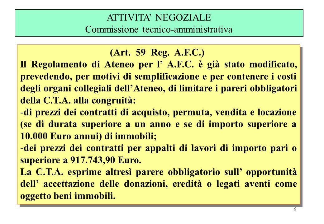 6 (Art. 59 Reg. A.F.C.) Il Regolamento di Ateneo per l A.F.C. è già stato modificato, prevedendo, per motivi di semplificazione e per contenere i cost