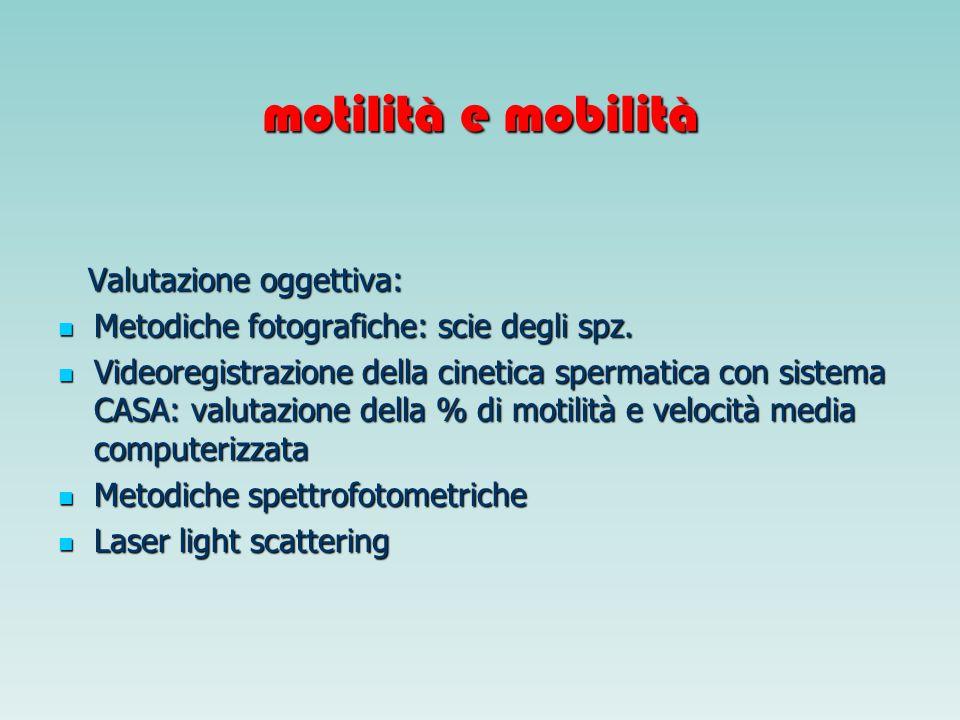 motilità e mobilità Valutazione oggettiva: Valutazione oggettiva: Metodiche fotografiche: scie degli spz. Metodiche fotografiche: scie degli spz. Vide