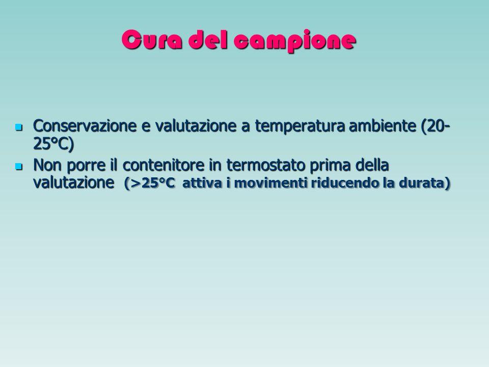 Cura del campione Conservazione e valutazione a temperatura ambiente (20- 25°C) Conservazione e valutazione a temperatura ambiente (20- 25°C) Non porr