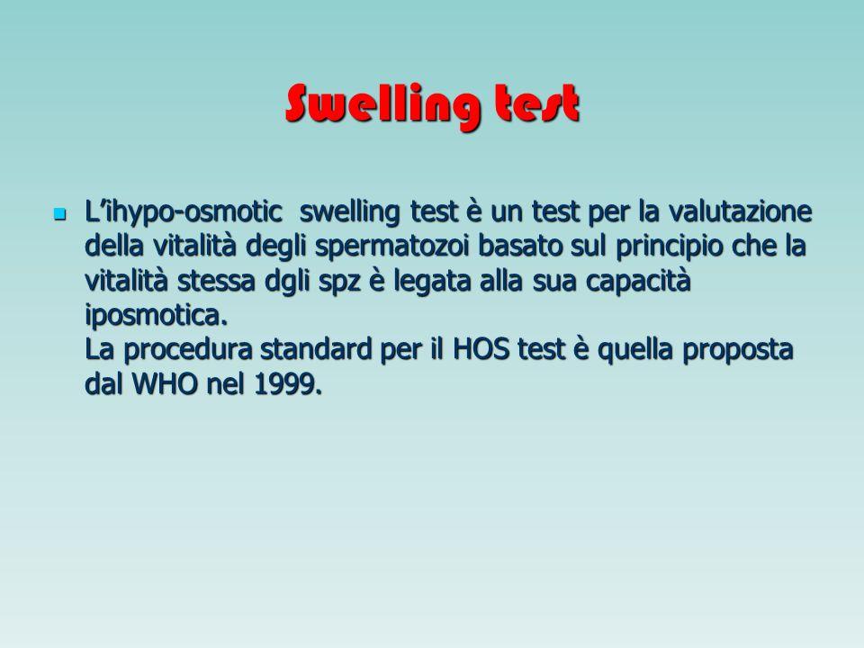 Swelling test Lihypo-osmotic swelling test è un test per la valutazione della vitalità degli spermatozoi basato sul principio che la vitalità stessa d