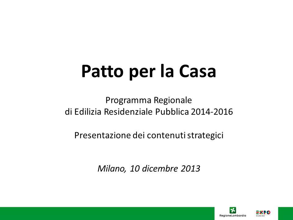 U.O. Programmazione Politiche abitative Patto per la Casa Programma Regionale di Edilizia Residenziale Pubblica 2014-2016 Presentazione dei contenuti
