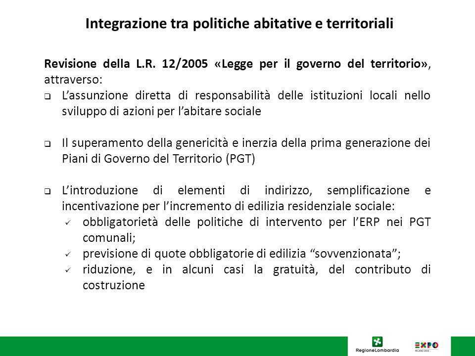 U.O. Programmazione Politiche abitative Integrazione tra politiche abitative e territoriali Revisione della L.R. 12/2005 «Legge per il governo del ter