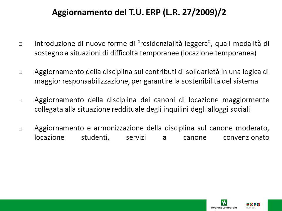 U.O. Programmazione Politiche abitative Aggiornamento del T.U. ERP (L.R. 27/2009)/2 Introduzione di nuove forme di residenzialità leggera, quali modal