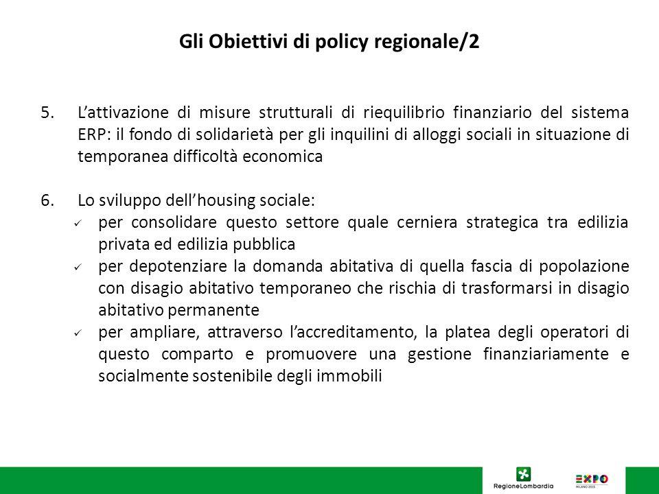 U.O. Programmazione Politiche abitative Gli Obiettivi di policy regionale/2 5.Lattivazione di misure strutturali di riequilibrio finanziario del siste