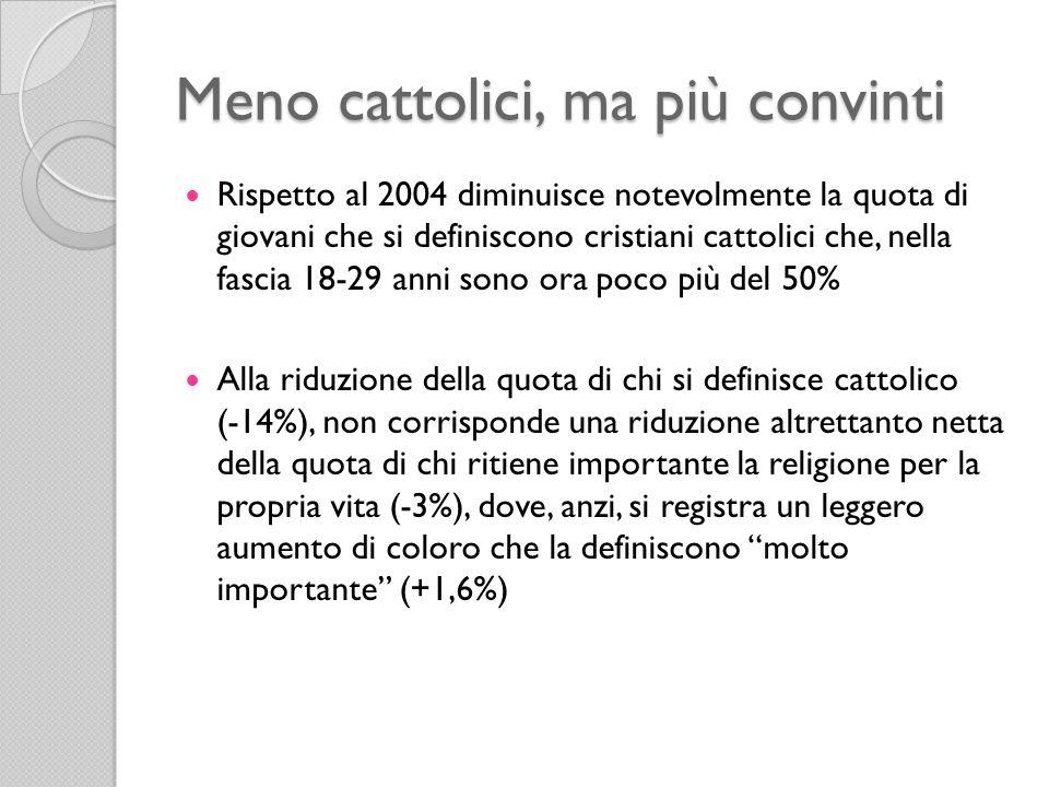 Meno cattolici, ma più convinti Rispetto al 2004 diminuisce notevolmente la quota di giovani che si definiscono cristiani cattolici che, nella fascia 18-29 anni sono ora poco più del 50% Alla riduzione della quota di chi si definisce cattolico (-14%), non corrisponde una riduzione altrettanto netta della quota di chi ritiene importante la religione per la propria vita (-3%), dove, anzi, si registra un leggero aumento di coloro che la definiscono molto importante (+1,6%)