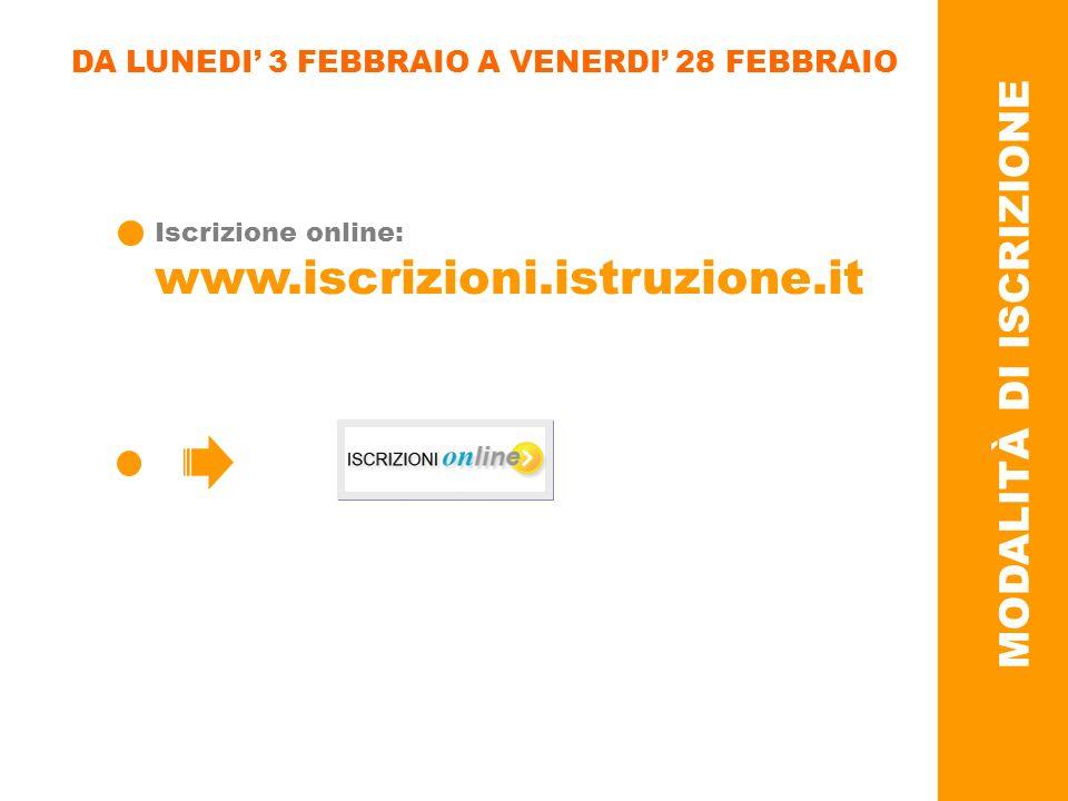 DA LUNEDI 3 FEBBRAIO A VENERDI 28 FEBBRAIO Iscrizione online: www.iscrizioni.istruzione.it MODALITÀ DI ISCRIZIONE