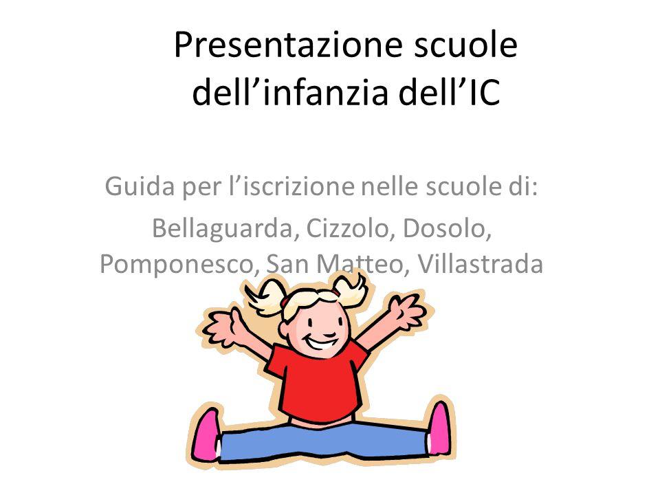 Presentazione scuole dellinfanzia dellIC Guida per liscrizione nelle scuole di: Bellaguarda, Cizzolo, Dosolo, Pomponesco, San Matteo, Villastrada
