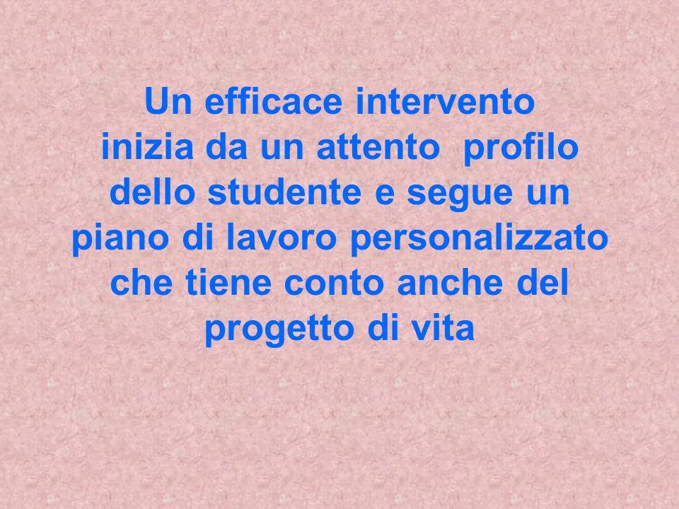 Un efficace intervento inizia da un attento profilo dello studente e segue un piano di lavoro personalizzato che tiene conto anche del progetto di vita
