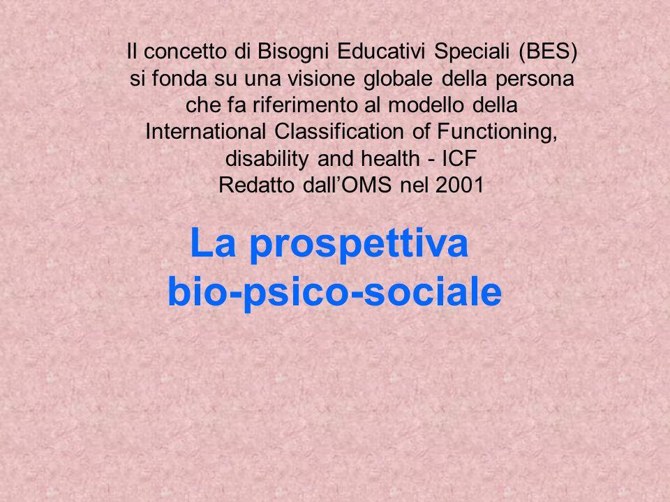 La prospettiva bio-psico-sociale Il concetto di Bisogni Educativi Speciali (BES) si fonda su una visione globale della persona che fa riferimento al modello della International Classification of Functioning, disability and health - ICF Redatto dallOMS nel 2001
