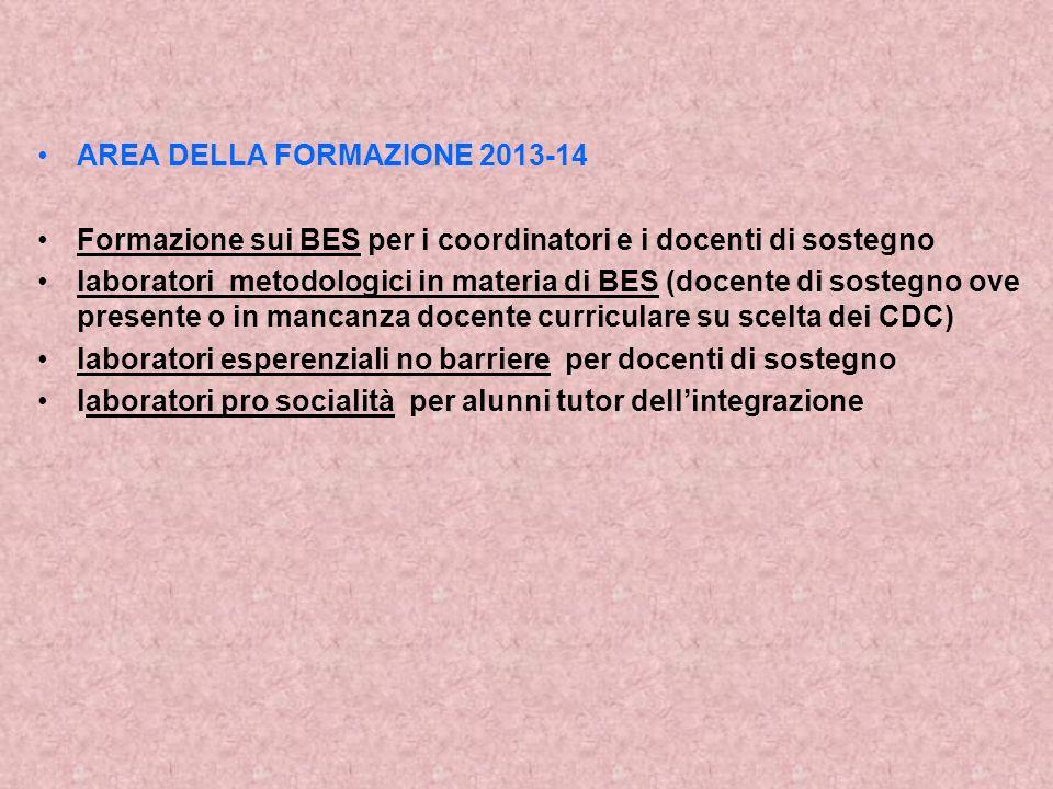 AREA DELLA FORMAZIONE 2013-14 Formazione sui BES per i coordinatori e i docenti di sostegno laboratori metodologici in materia di BES (docente di sost