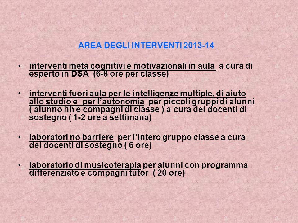 AREA DEGLI INTERVENTI 2013-14 interventi meta cognitivi e motivazionali in aula a cura di esperto in DSA (6-8 ore per classe) interventi fuori aula pe
