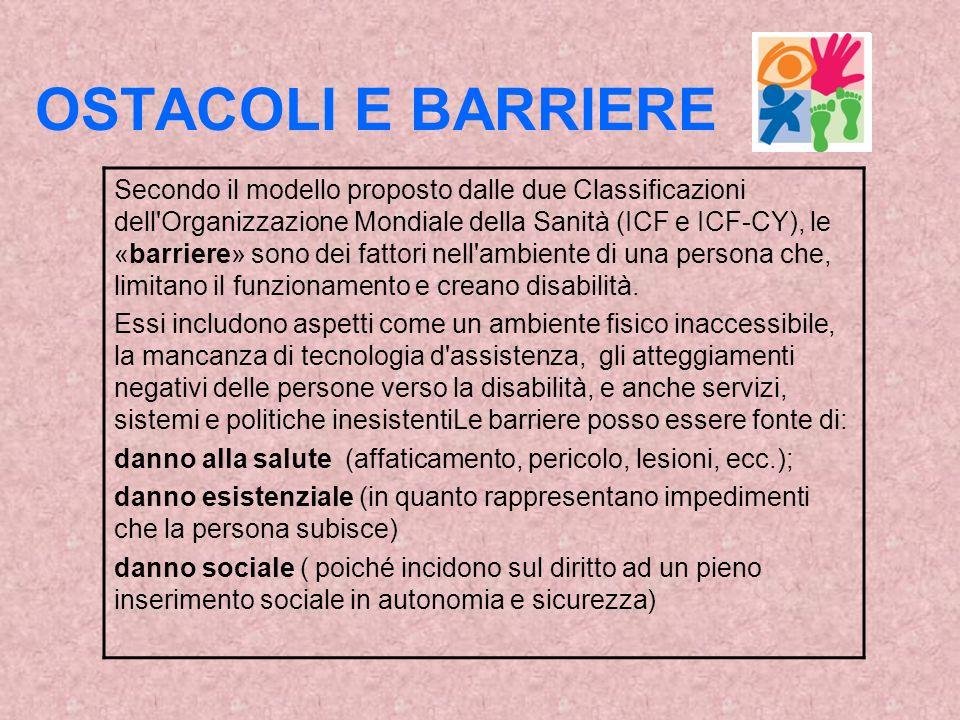 OSTACOLI E BARRIERE Secondo il modello proposto dalle due Classificazioni dell Organizzazione Mondiale della Sanità (ICF e ICF-CY), le «barriere» sono dei fattori nell ambiente di una persona che, limitano il funzionamento e creano disabilità.