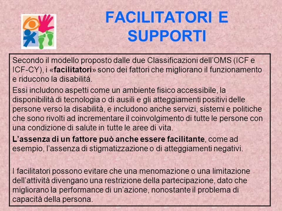 FACILITATORI E SUPPORTI Secondo il modello proposto dalle due Classificazioni dellOMS (ICF e ICF-CY), i «facilitatori» sono dei fattori che migliorano il funzionamento e riducono la disabilità.