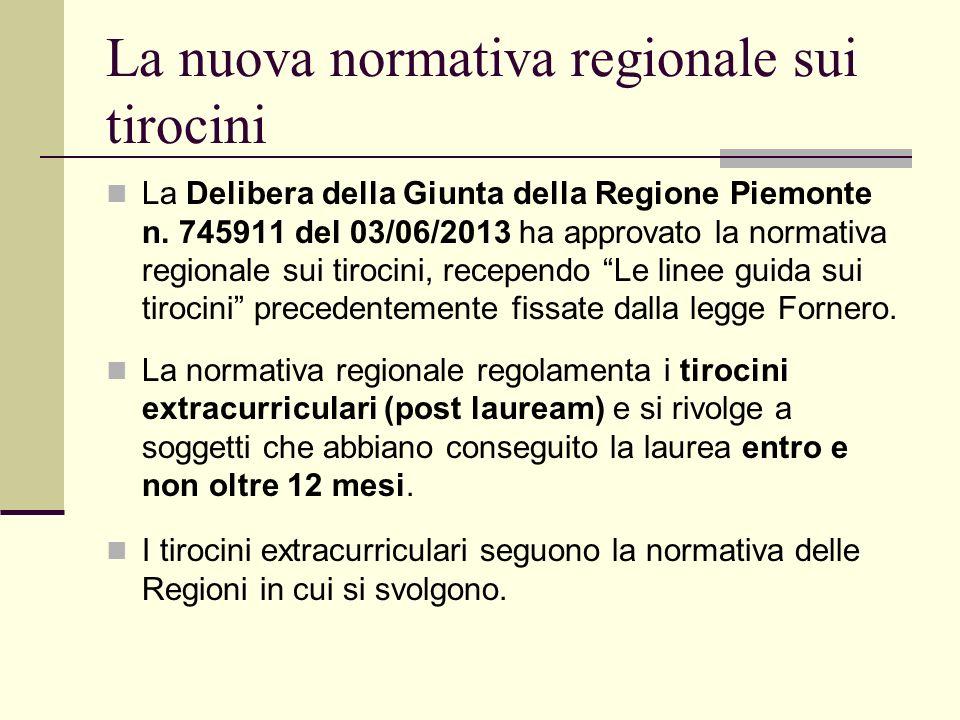 La nuova normativa regionale sui tirocini La Delibera della Giunta della Regione Piemonte n.