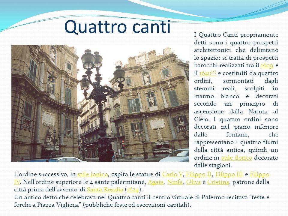 All interno raffigurati gli dei dell Olimpo ed i fiumi di Palermo:Oreto Papireto, Gabriele e Maredolce.