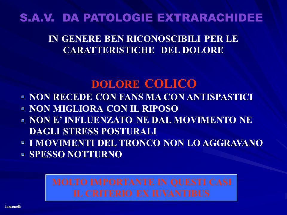 S.A.V. DA PATOLOGIE EXTRARACHIDEE IN GENERE BEN RICONOSCIBILI PER LE CARATTERISTICHE DEL DOLORE DOLORE COLICO NON RECEDE CON FANS MA CON ANTISPASTICI