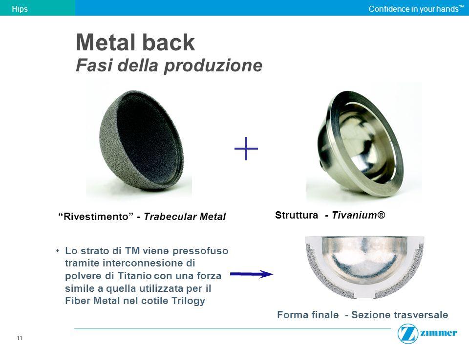 11 HipsConfidence in your hands Rivestimento - Trabecular Metal Lo strato di TM viene pressofuso tramite interconnesione di polvere di Titanio con una