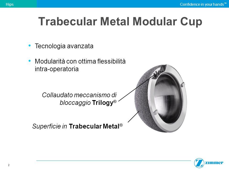 2 HipsConfidence in your hands Collaudato meccanismo di bloccaggio Trilogy ® Tecnologia avanzata Modularità con ottima flessibilità intra-operatoria T