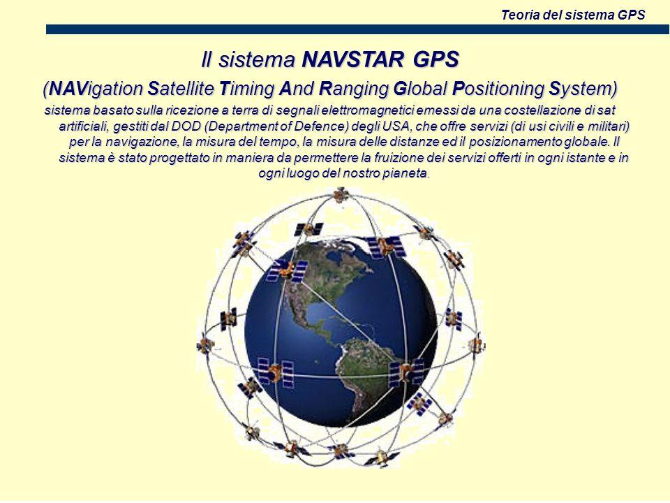 Teoria del sistema GPS Il sistema NAVSTAR GPS (NAVigation Satellite Timing And Ranging Global Positioning System) sistema basato sulla ricezione a terra di segnali elettromagnetici emessi da una costellazione di sat artificiali, gestiti dal DOD (Department of Defence) degli USA, che offre servizi (di usi civili e militari) per la navigazione, la misura del tempo, la misura delle distanze ed il posizionamento globale.