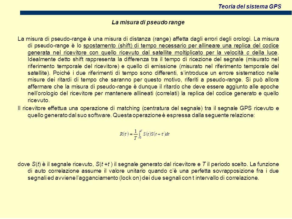 La misura di pseudo range La misura di pseudo-range è una misura di distanza (range) affetta dagli errori degli orologi.