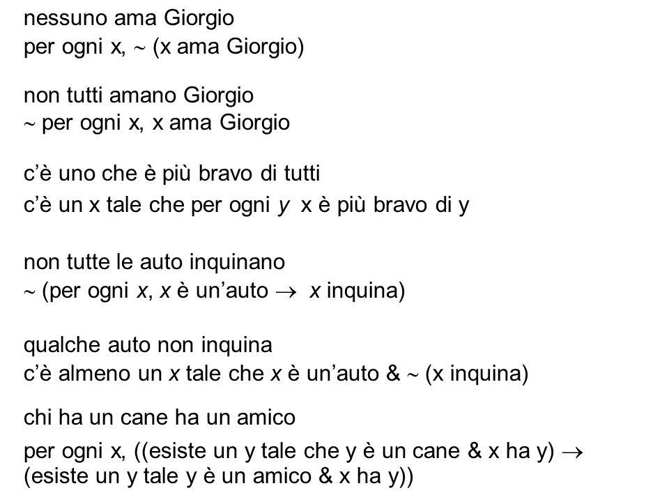 nessuno ama Giorgio per ogni x, (x ama Giorgio) non tutti amano Giorgio per ogni x, x ama Giorgio cè uno che è più bravo di tutti cè un x tale che per