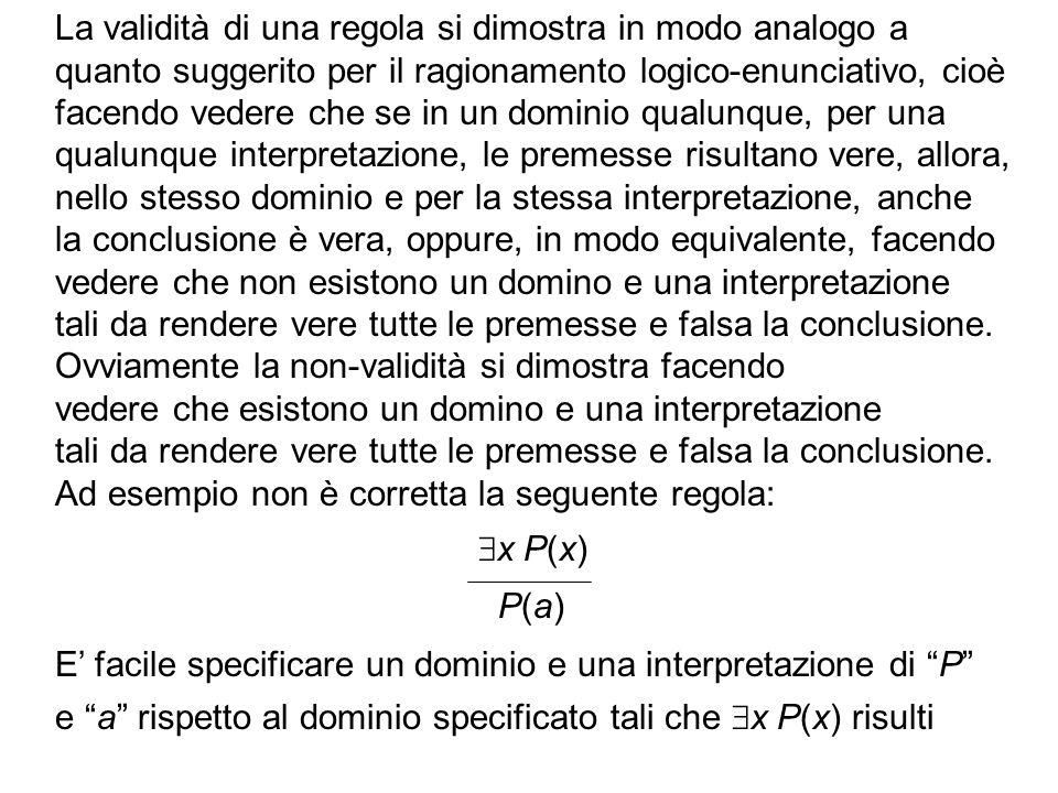 La validità di una regola si dimostra in modo analogo a quanto suggerito per il ragionamento logico-enunciativo, cioè facendo vedere che se in un domi