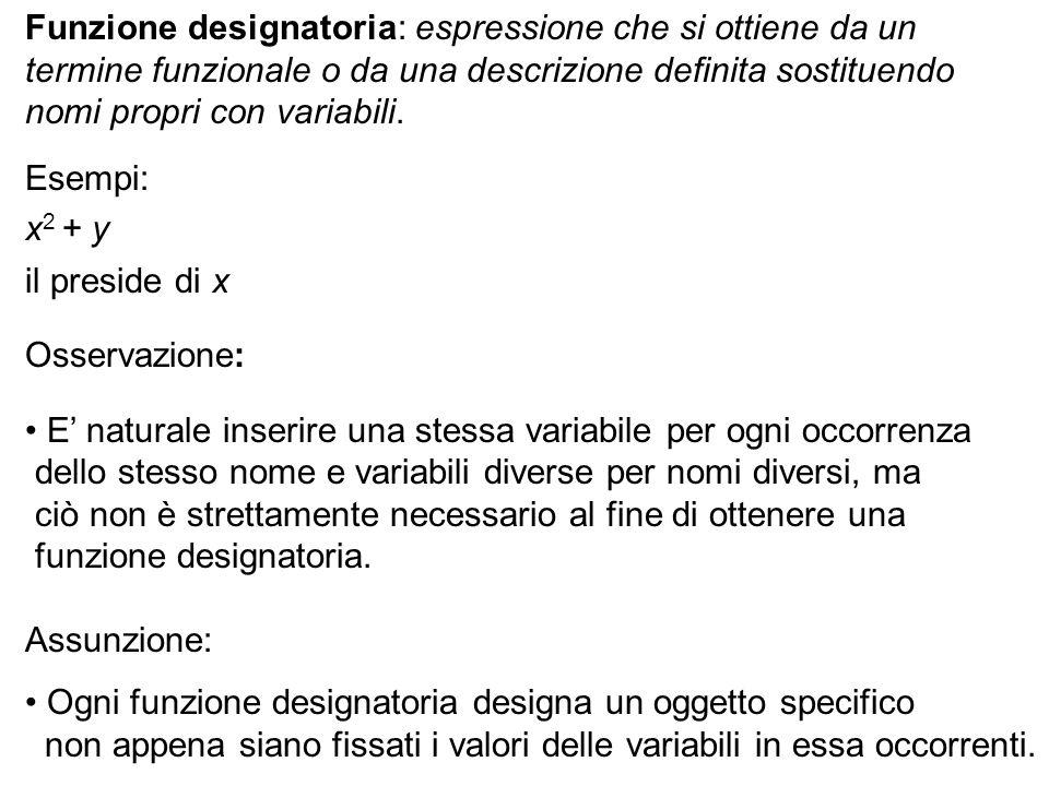 Funzione designatoria: espressione che si ottiene da un termine funzionale o da una descrizione definita sostituendo nomi propri con variabili. Esempi