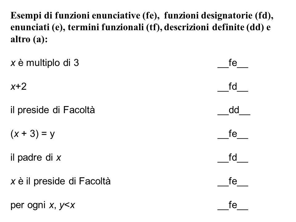Esempi di funzioni enunciative (fe), funzioni designatorie (fd), enunciati (e), termini funzionali (tf), descrizioni definite (dd) e altro (a): x è mu