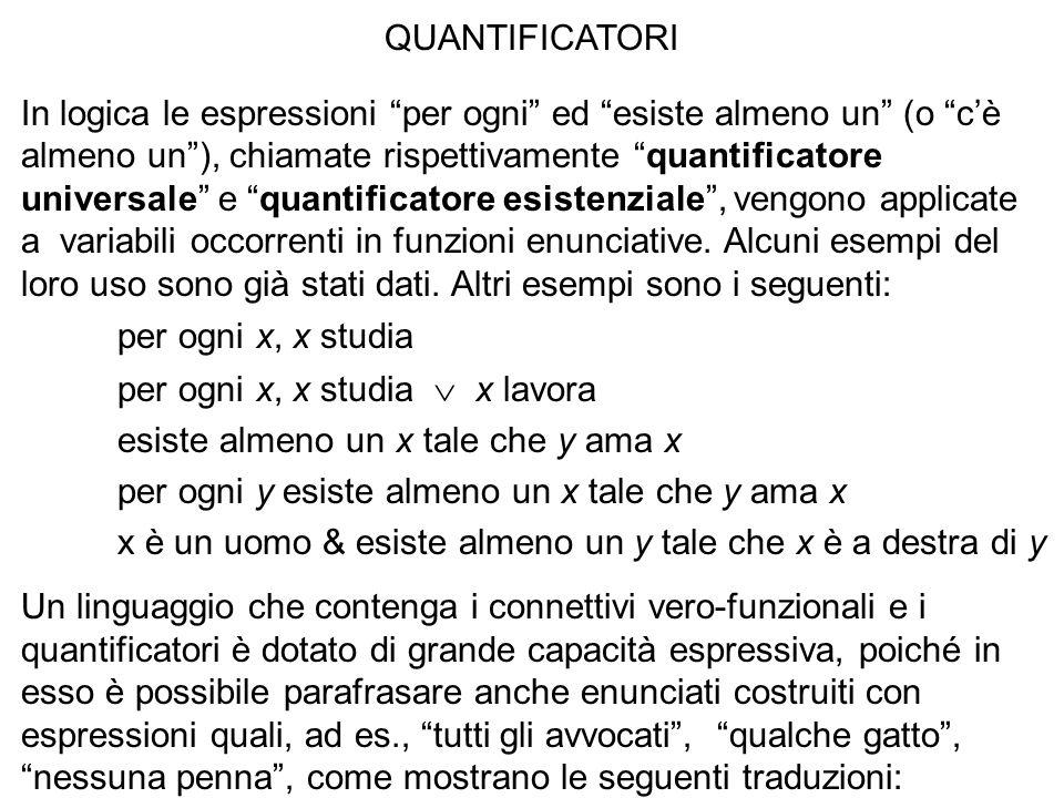 QUANTIFICATORI In logica le espressioni per ogni ed esiste almeno un (o cè almeno un), chiamate rispettivamente quantificatore universale e quantifica