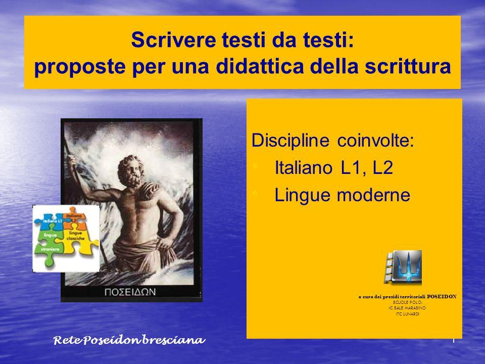 1 Scrivere testi da testi: proposte per una didattica della scrittura Discipline coinvolte: Italiano L1, L2 Lingue moderne a cura dei presidi territor