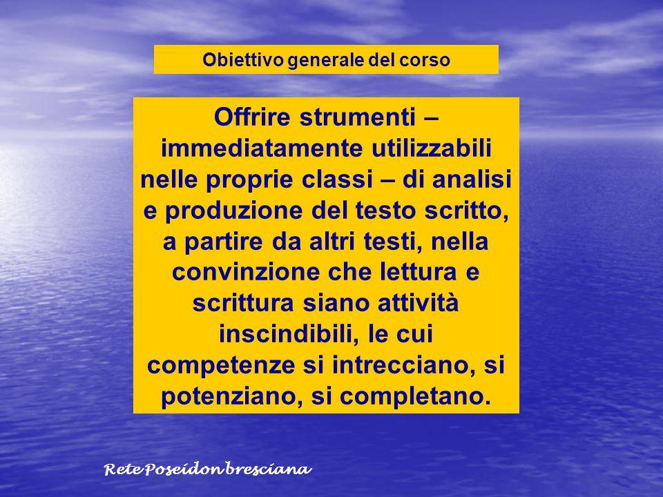 Obiettivo generale del corso Offrire strumenti – immediatamente utilizzabili nelle proprie classi – di analisi e produzione del testo scritto, a parti