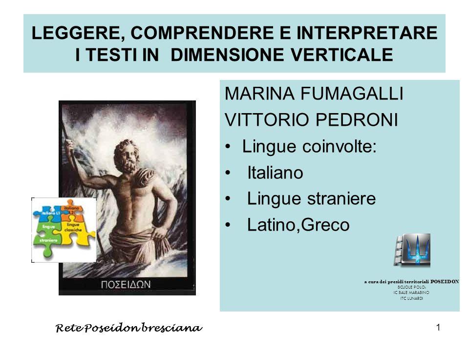 1 LEGGERE, COMPRENDERE E INTERPRETARE I TESTI IN DIMENSIONE VERTICALE MARINA FUMAGALLI VITTORIO PEDRONI Lingue coinvolte: Italiano Lingue straniere La