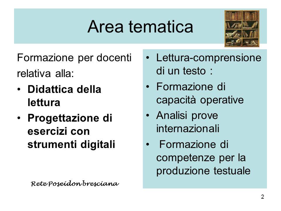 2 Area tematica Formazione per docenti relativa alla: Didattica della lettura Progettazione di esercizi con strumenti digitali Lettura-comprensione di