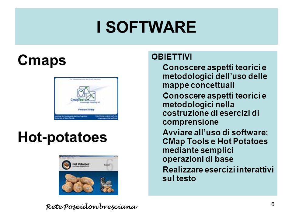 6 I SOFTWARE Cmaps Hot-potatoes OBIETTIVI Conoscere aspetti teorici e metodologici delluso delle mappe concettuali Conoscere aspetti teorici e metodol