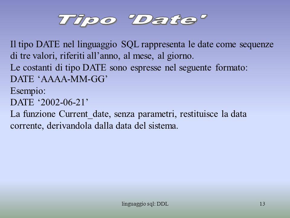 linguaggio sql: DDL14 La definizione di vincoli di integrita consente di limitare i valori ammissibili per una determinata colonna della tabella in base a specifici criteri.