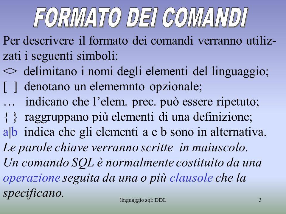 linguaggio sql: DDL4 Il comando CREATE SCHEMA, si limita a creare una cartella col nome specificato nel comando.