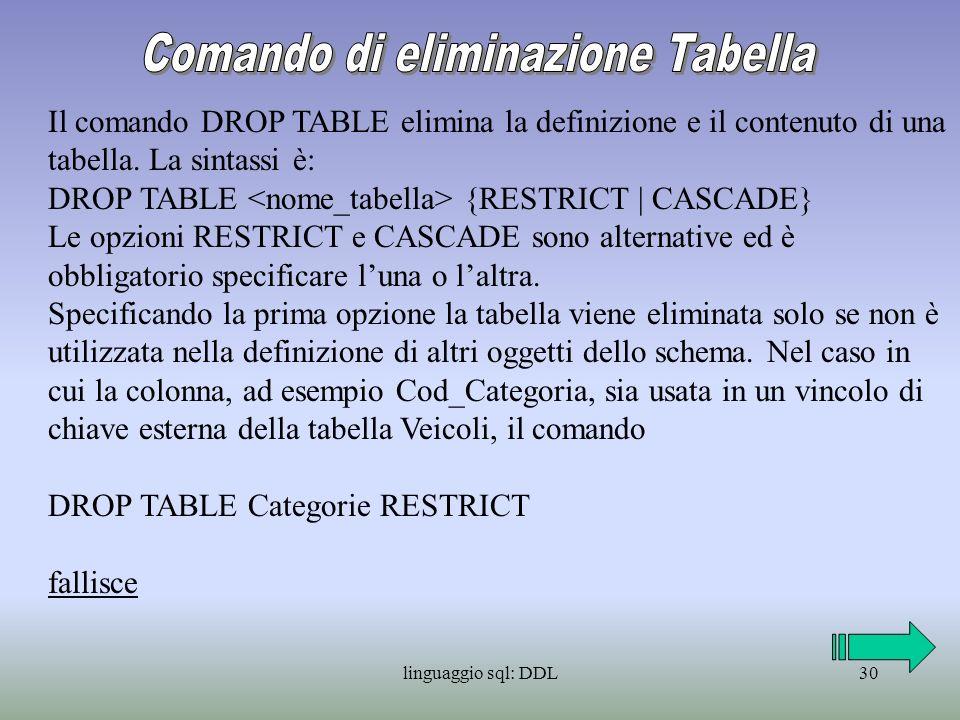 linguaggio sql: DDL31 Quando usiamo CASCADE invece, oltre ad essere eliminata la tabella specifica, vengono eliminate tutte le dipendenze di tale tabella nelle altre definizioni dello schema.